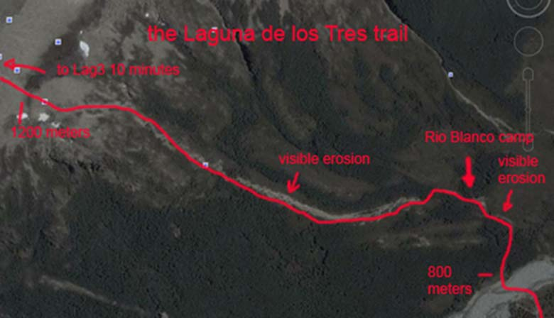 Aerial view of Laguna de los Tres trail